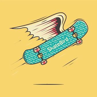 Ilustração dos desenhos animados de skate com asas