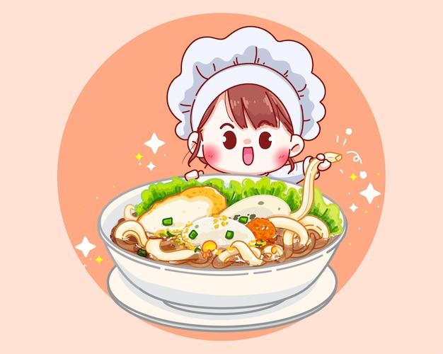 Ilustração dos desenhos animados de sopa de macarrão de peixe com bolinhas de peixe