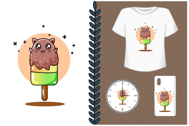 Ilustração dos desenhos animados de sorvete de gato fofo