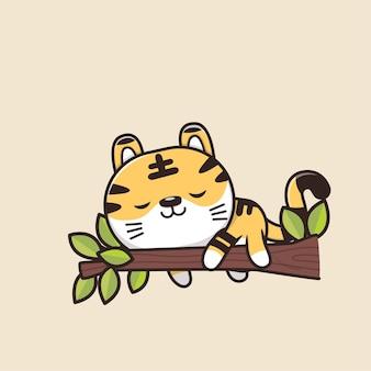 Ilustração dos desenhos animados de tigre de animais selvagens fofos