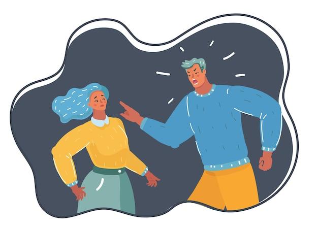 Ilustração dos desenhos animados de tirano masculino com raiva. ele pune mulher. déspota com poder absoluto, briga de casal infeliz. caráter humano em fundo escuro.