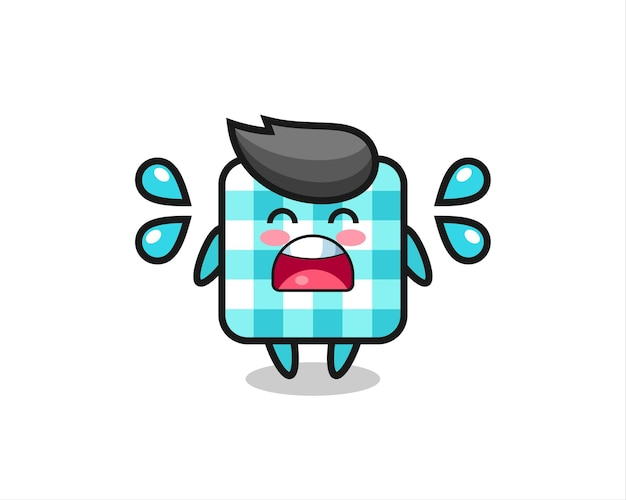 Ilustração dos desenhos animados de toalha de mesa quadriculada com gesto de choro, design de estilo fofo para camiseta, adesivo, elemento de logotipo