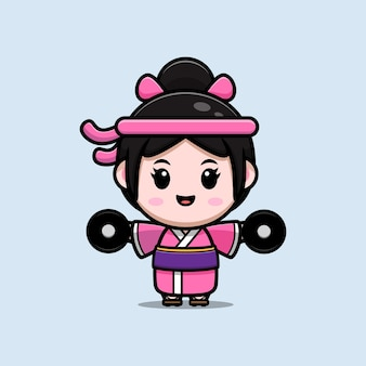 Ilustração dos desenhos animados de treino de menina bonita com vestido de quimono