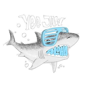 Ilustração dos desenhos animados de tubarão yee impressão de mandíbula.