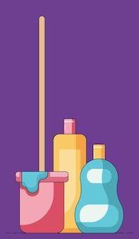 Ilustração dos desenhos animados de um balde com esfregão na frente de um sabonete líquido isolado em um fundo roxo