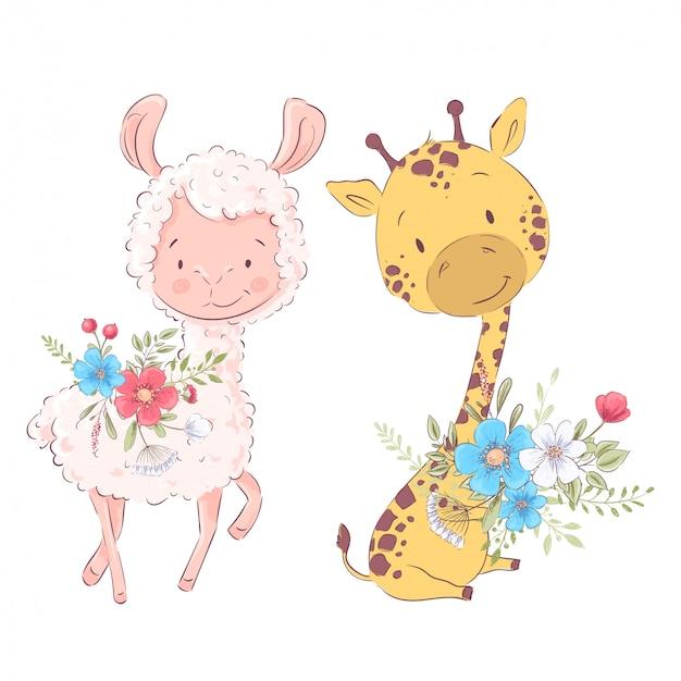 Ilustração dos desenhos animados de um bonito lhama e girafa