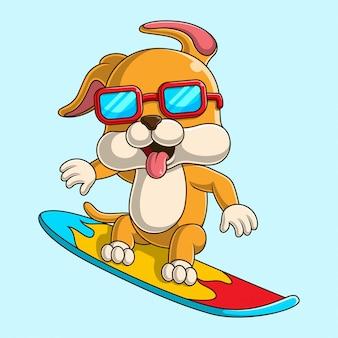 Ilustração dos desenhos animados de um cachorro fofo surfando