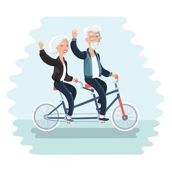 Ilustração dos desenhos animados de um casal de idosos andando de bicicleta em tandem