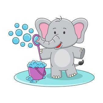 Ilustração dos desenhos animados de um elefante fofo brincando com um brinquedo de bolha de sabão