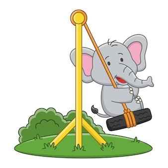 Ilustração dos desenhos animados de um elefante fofo brincando em um balanço