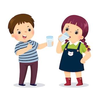 Ilustração dos desenhos animados de um garotinho segurando um copo d'água e mostrando o polegar para cima o sinal com a garota bebendo água.