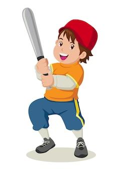 Ilustração dos desenhos animados de um garoto segurando um taco de beisebol