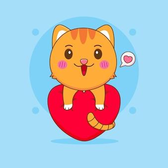 Ilustração dos desenhos animados de um gato fofo abraçando o calor do amor
