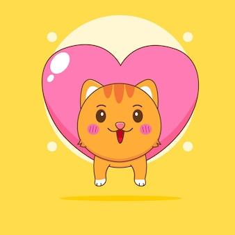Ilustração dos desenhos animados de um gato fofo pendurado no amor