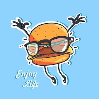 Ilustração dos desenhos animados de um hambúrguer feliz usando óculos