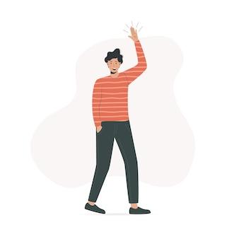 Ilustração dos desenhos animados de um homem acenando com a mão