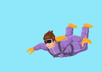 Ilustração dos desenhos animados de um homem sky diving