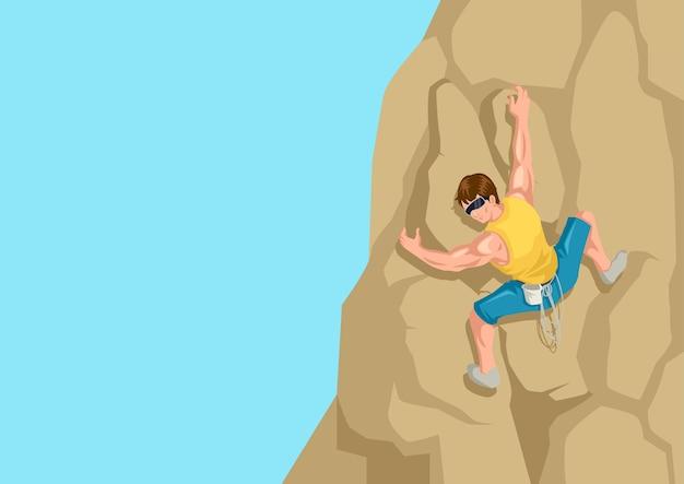 Ilustração dos desenhos animados de um homem subindo a rocha
