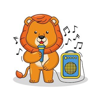 Ilustração dos desenhos animados de um leão fofo cantando uma canção