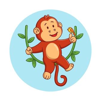 Ilustração dos desenhos animados de um macaco fofo brincando com um pássaro
