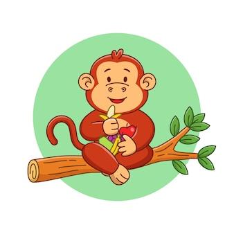 Ilustração dos desenhos animados de um macaco fofo comendo frutas