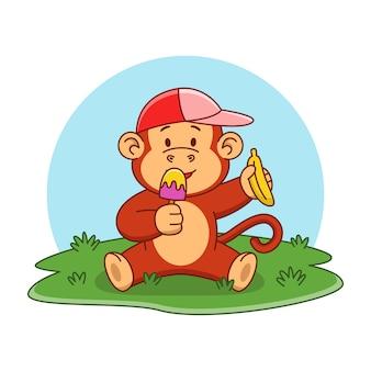Ilustração dos desenhos animados de um macaco fofo tomando sorvete