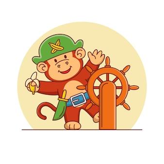Ilustração dos desenhos animados de um macaco pirata fofo