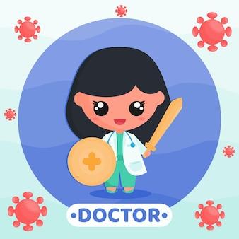 Ilustração dos desenhos animados de um médico fofo lutando contra o vírus com uma espada e um escudo nas mãos