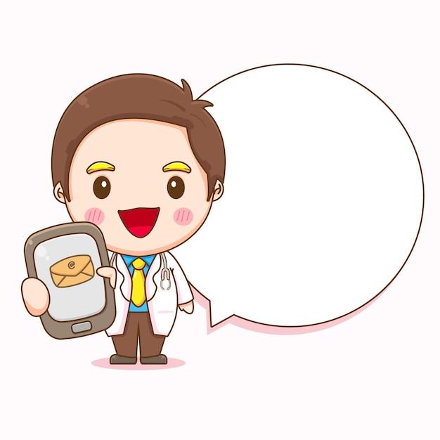 Ilustração dos desenhos animados de um médico fofo segurando o telefone com o bate-papo da bolha