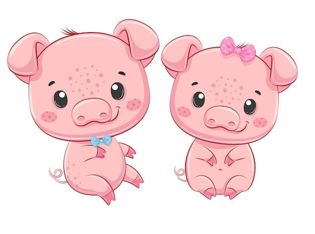 Ilustração dos desenhos animados de um menino fofo e uma menina de porcos