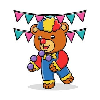 Ilustração dos desenhos animados de um palhaço de urso