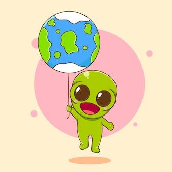Ilustração dos desenhos animados de um personagem alienígena fofinho segurando a terra