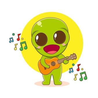 Ilustração dos desenhos animados de um personagem alienígena fofinho tocando guitarra