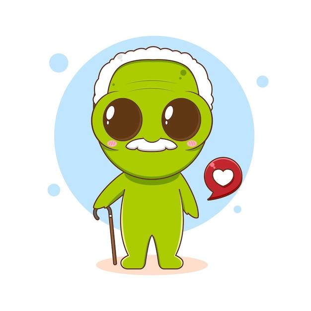 Ilustração dos desenhos animados de um personagem alienígena fofo