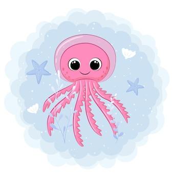 Ilustração dos desenhos animados de um polvo rosa fofo nadando no mar