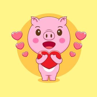 Ilustração dos desenhos animados de um porco fofo segurando amor