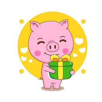 Ilustração dos desenhos animados de um porco fofo segurando uma caixa de presente