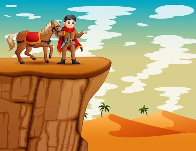 Ilustração dos desenhos animados de um príncipe com seu cavalo parado no penhasco