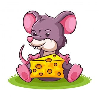 Ilustração dos desenhos animados de um rato bonitinho e queijo