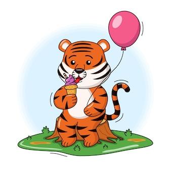 Ilustração dos desenhos animados de um tigre fofo comendo sorvete