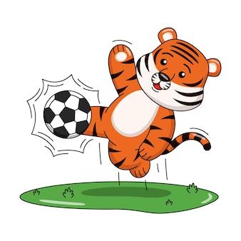 Ilustração dos desenhos animados de um tigre jogando futebol