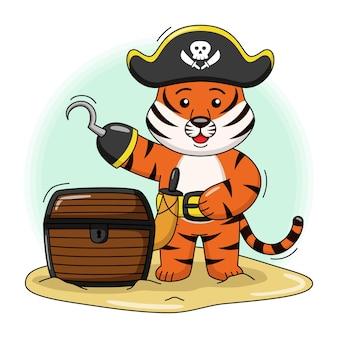 Ilustração dos desenhos animados de um tigre pirata fofo