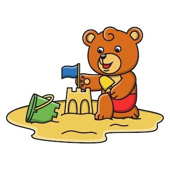 Ilustração dos desenhos animados de um urso jogando areia na praia