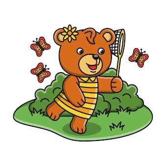 Ilustração dos desenhos animados de um urso pegando uma borboleta