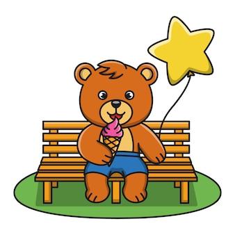 Ilustração dos desenhos animados de um urso tomando sorvete