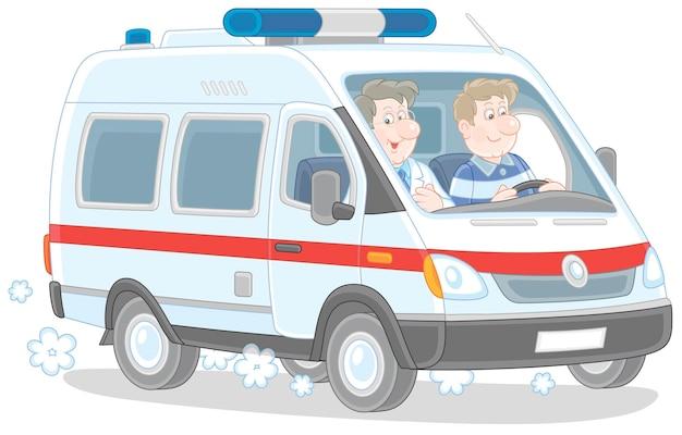 Ilustração dos desenhos animados de um veículo médico especial com ambulâncias correndo para resgatar