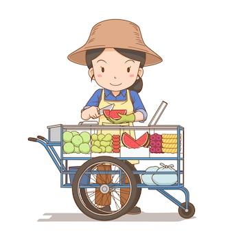 Ilustração dos desenhos animados de um vendedor ambulante de frutas frescas da tailândia