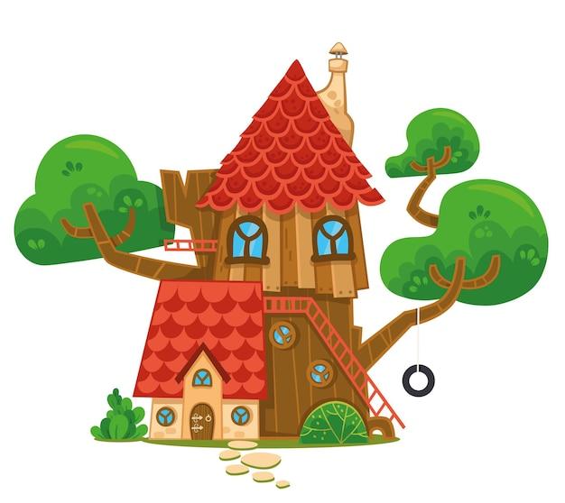 Ilustração dos desenhos animados de uma casa na árvore
