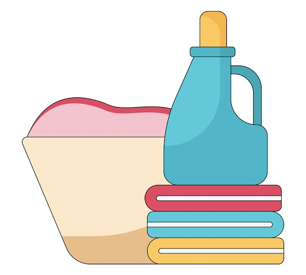 Ilustração dos desenhos animados de uma cesta com uma roupa suja e sabonete em tubo de plástico na toalha colorida