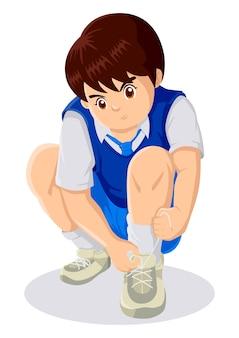 Ilustração dos desenhos animados de uma criança amarrar cadarços